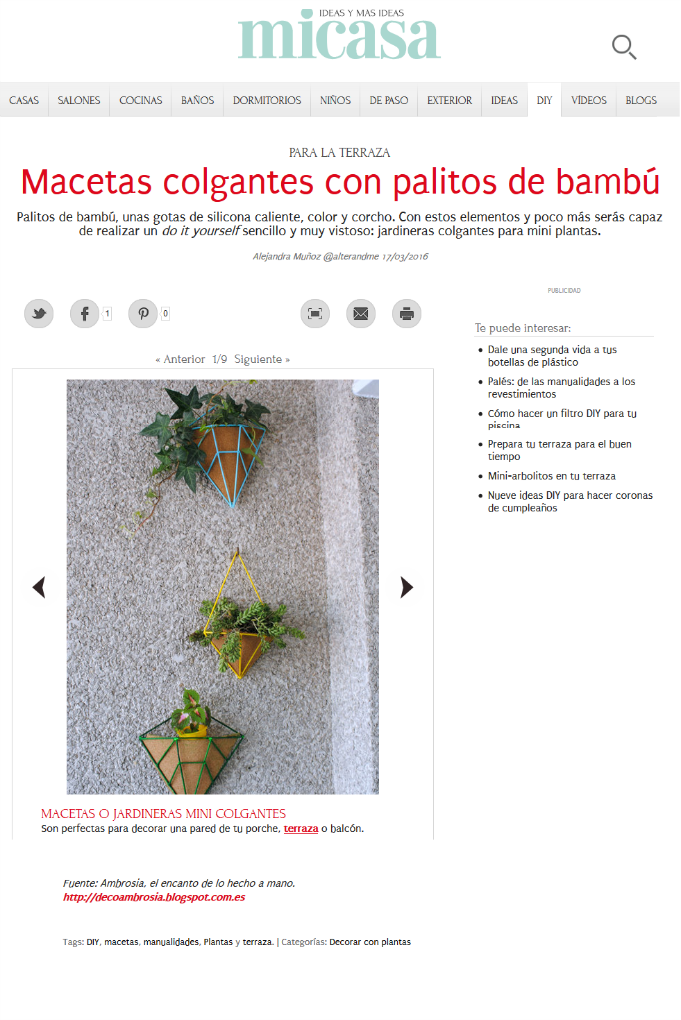 macetas colgantes diy en la web revista mi casa