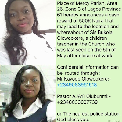 Place of Mercy Parish, Area offered N500K cash reward for missing Bukola Olowookere
