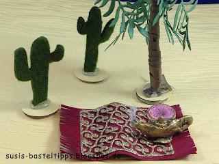 Stampin up miniatur märchenland tausendundeine nacht, mit palme, kaktus, katze, Haremspalast, schatztruhe, kleiner Muck und wunderlampe des aladdin