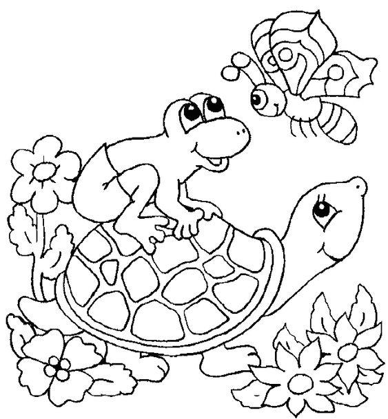 Tranh cho bé tô màu con rùa và con ếch