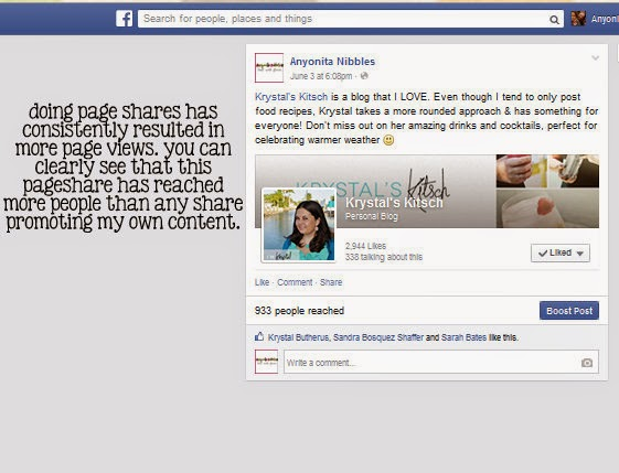 Anyonita epxlains how Facebook page shares can be used to increase page views.