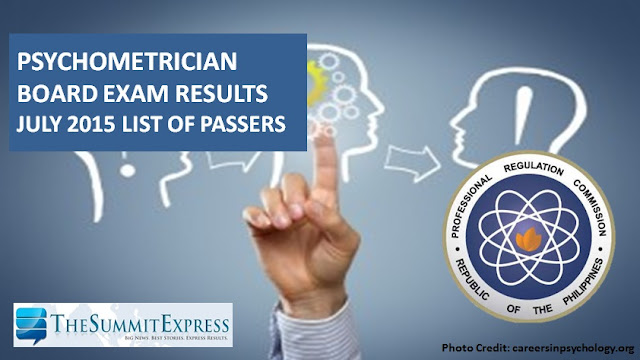 List of Passers: July 2015 Psychometrician board exam results