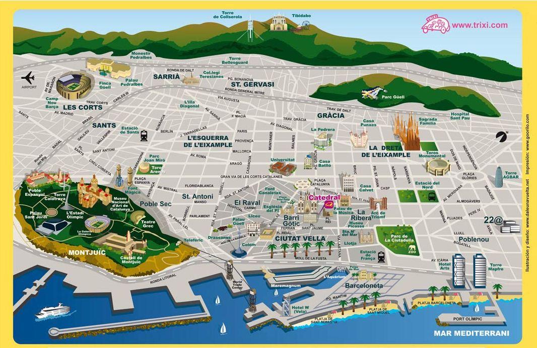 Barcelona Sehenswürdigkeiten Karte.Barcelona Zentrum Karte Creactie