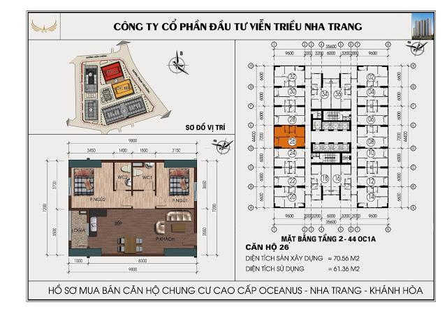 Sơ đồ căn hộ số 26  tòa OC1A Viễn Triều Nha Trang