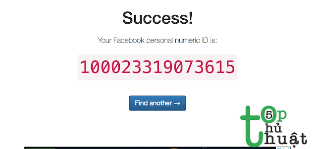 ID Facebook đã lấy thành công