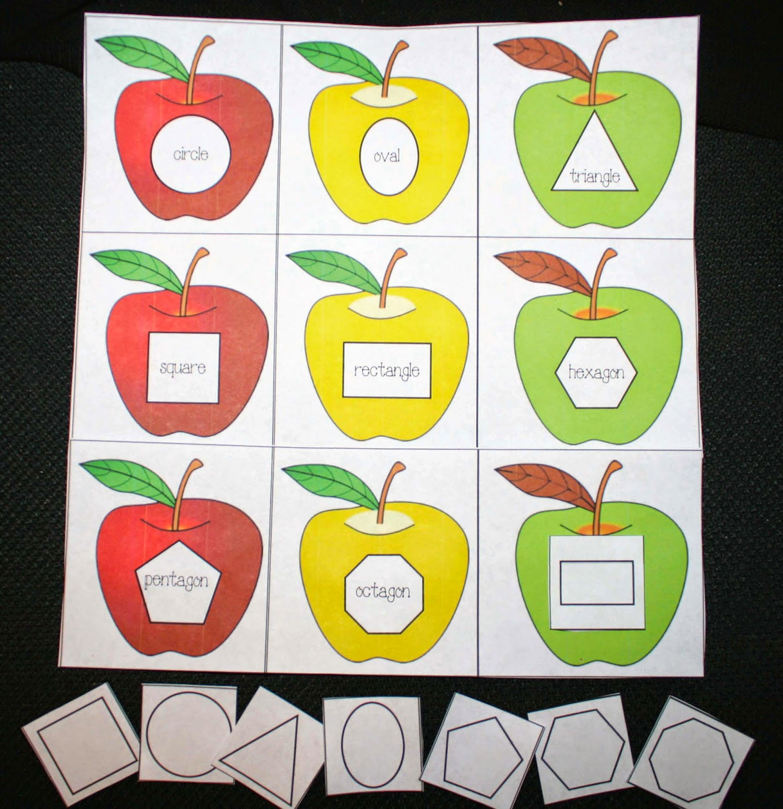 Classroom Freebies Shapely Apples Matching Game