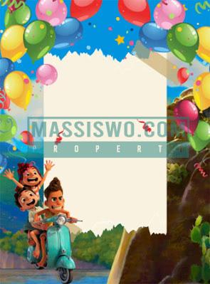 Background kartu undangan ulang tahun dengan tema petualangan