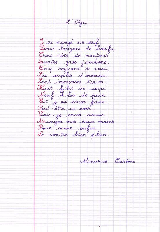 Franc Falar Un Poème De Maurice Carême L Ogre
