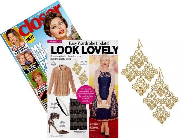 Chantilly Lace Earrings - Stella & Dot in Closer Magazine