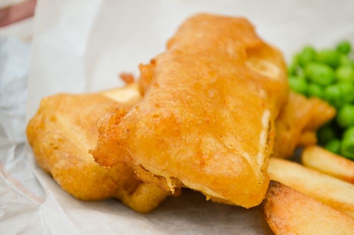 A close up of Chip shop battered tofu, also called tofish