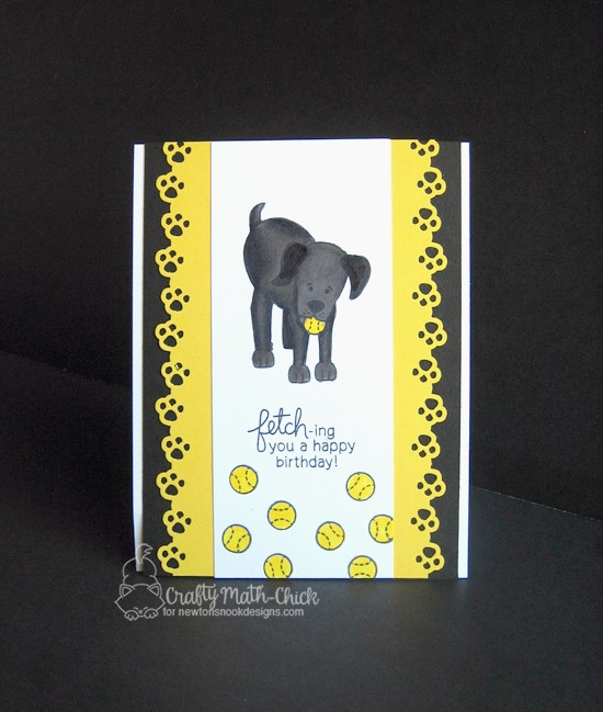 A Fetching Birthday Card by Crafty Math Chick | Fetching Friendship dog stamp set by Newton's Nook Designs #newtonsnook