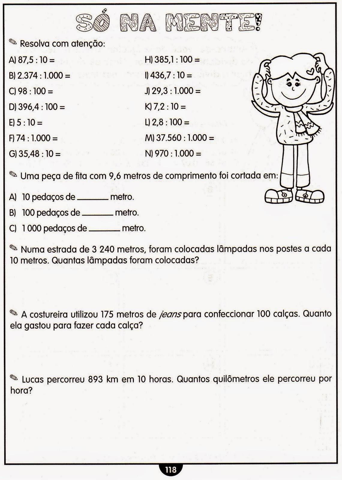 Clube Da Cor Atividades Escolares Numeros Decimais 30