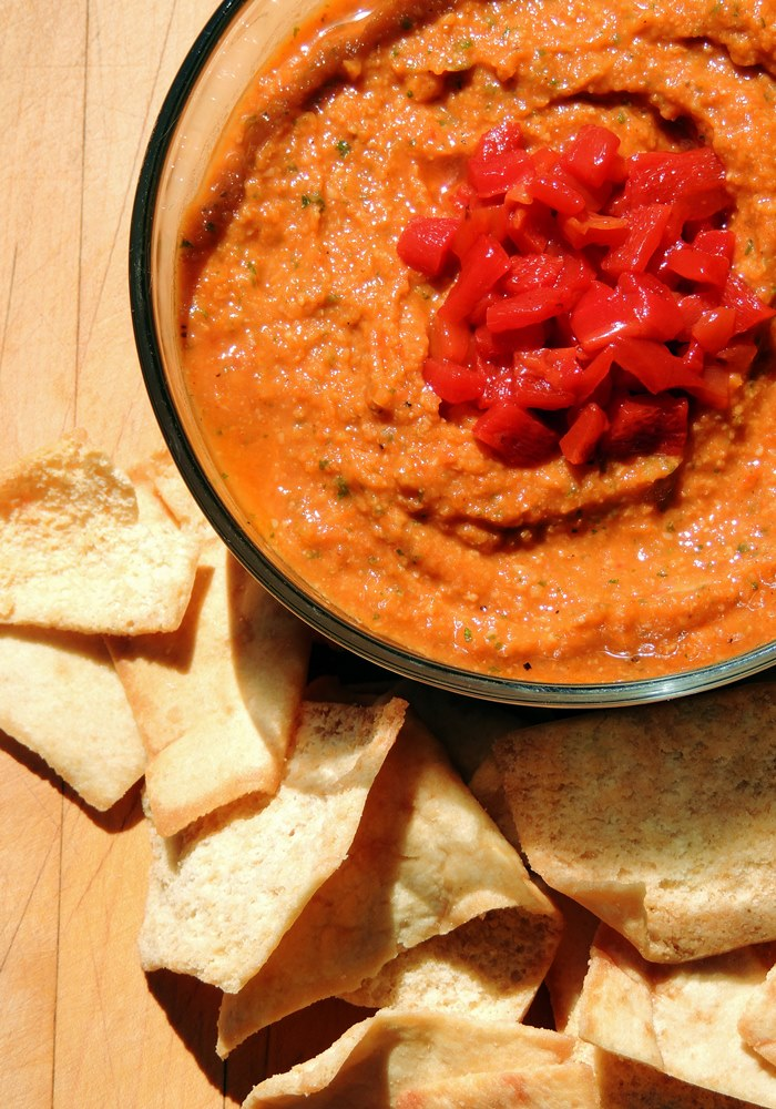 This hummus recipe switches up that plain boring hummus with this tasty roasted red pepper version. #hummus #glutenfree #dairyfree #healthy #recipe #easy #appetizer   bobbiskozykitchen.com