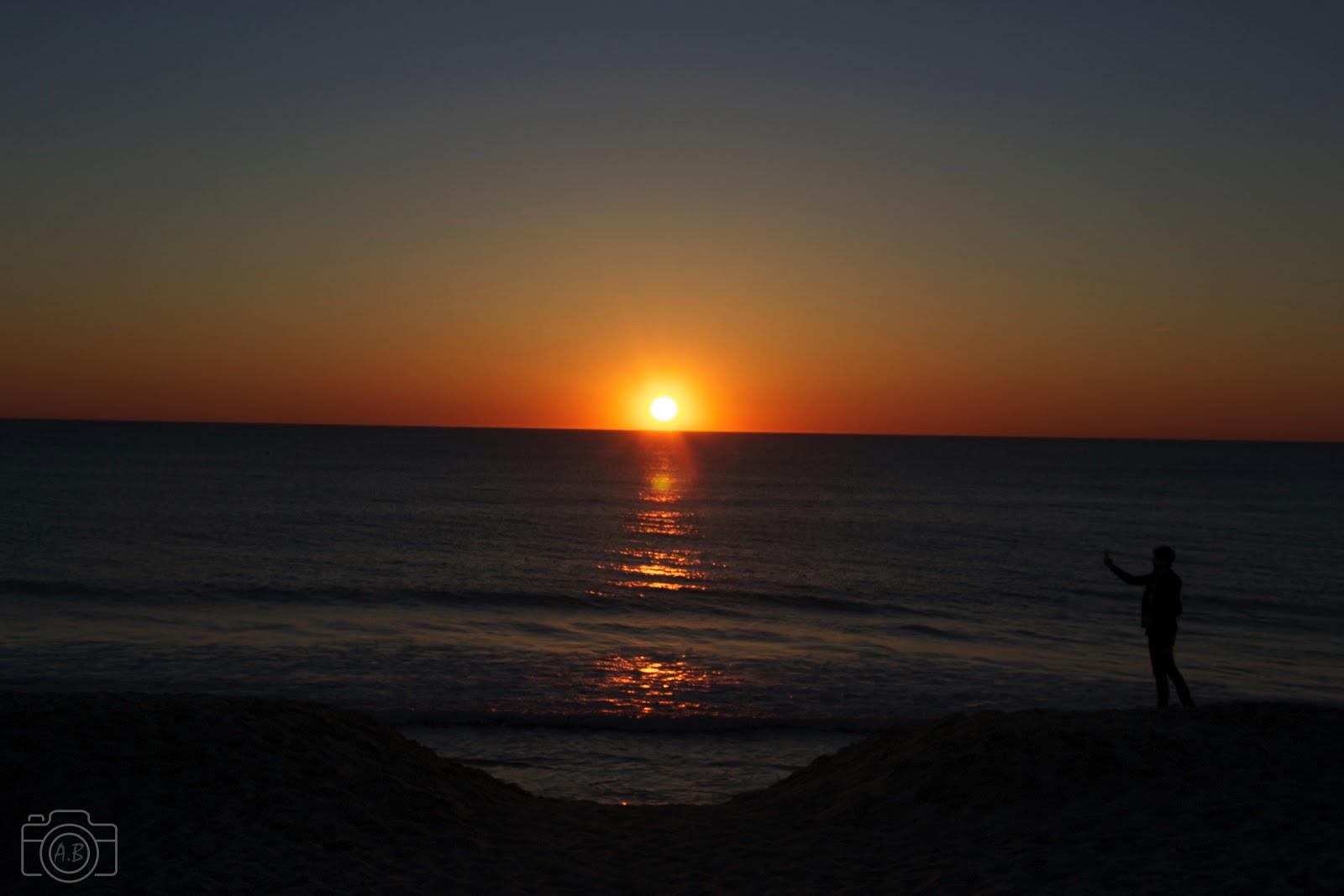 Contre-jour à Biscarosse, coucher de Soleil