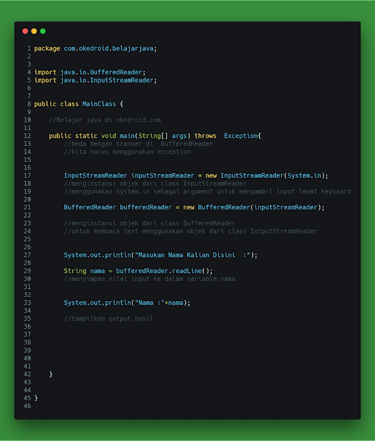 Contoh Code Program Input dan Output Menggunakan BufferedReader di Java