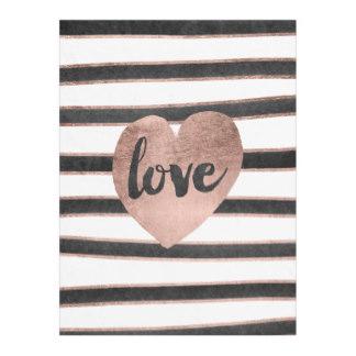 Fleece Blankets for Mom - Modern typography rose gold hearts stripes LOVE fleece blanket