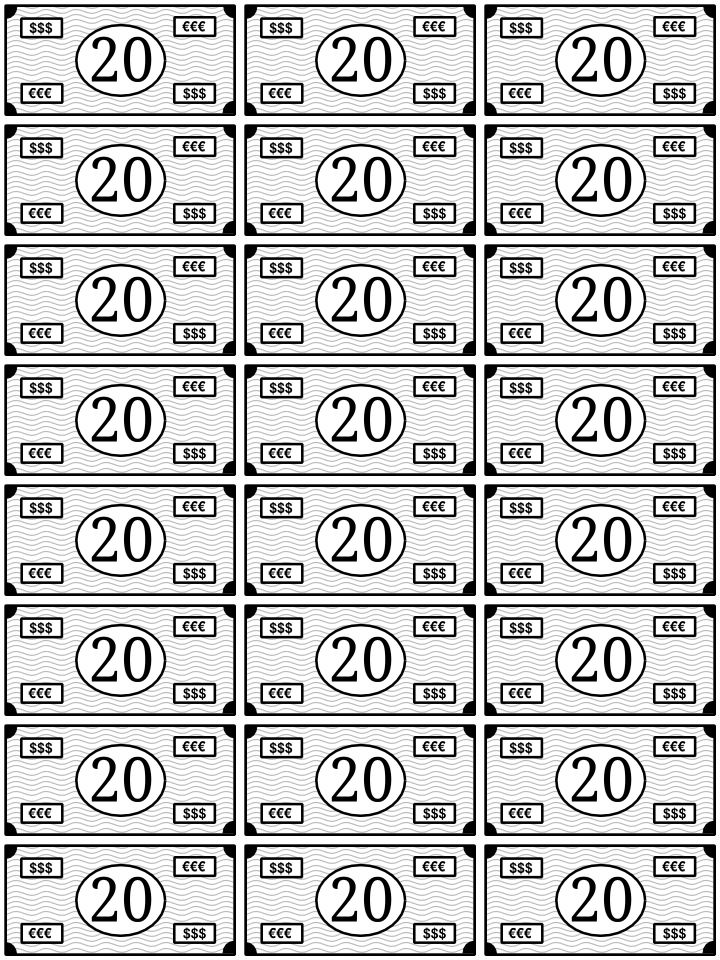 La Bolsa De Papel Billetes Para Imprimir Y Jugar