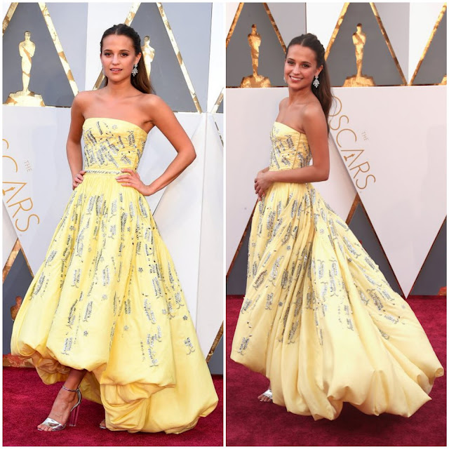 WHO WORE WHAT?.....88th Annual Academy Awards: Alicia Vikander in Custom Louis Vuitton