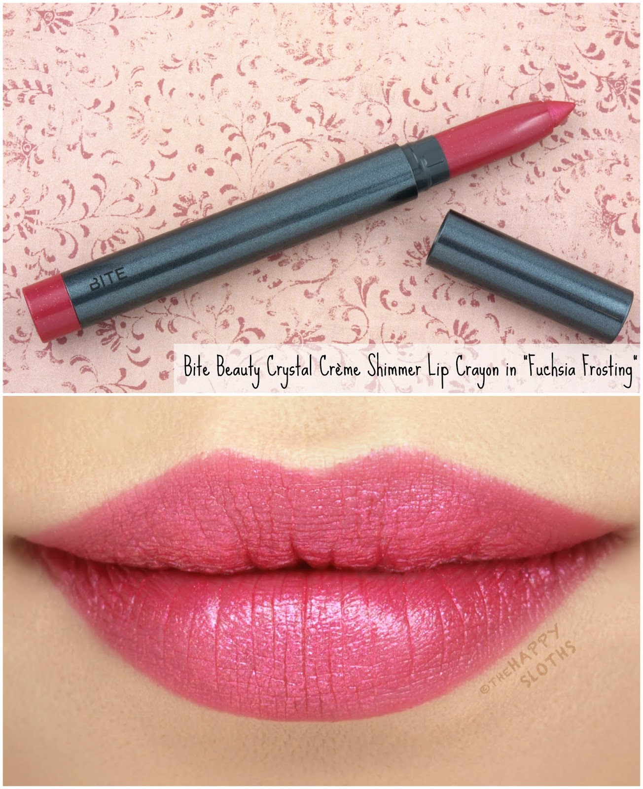 "Bite Beauty | Crystal Crème Shimmer Lip Crayon in ""Fuchsia Frosting"": Review and Swatches"