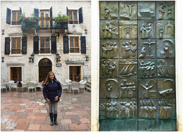 Hotel Marija and church door in Kotor