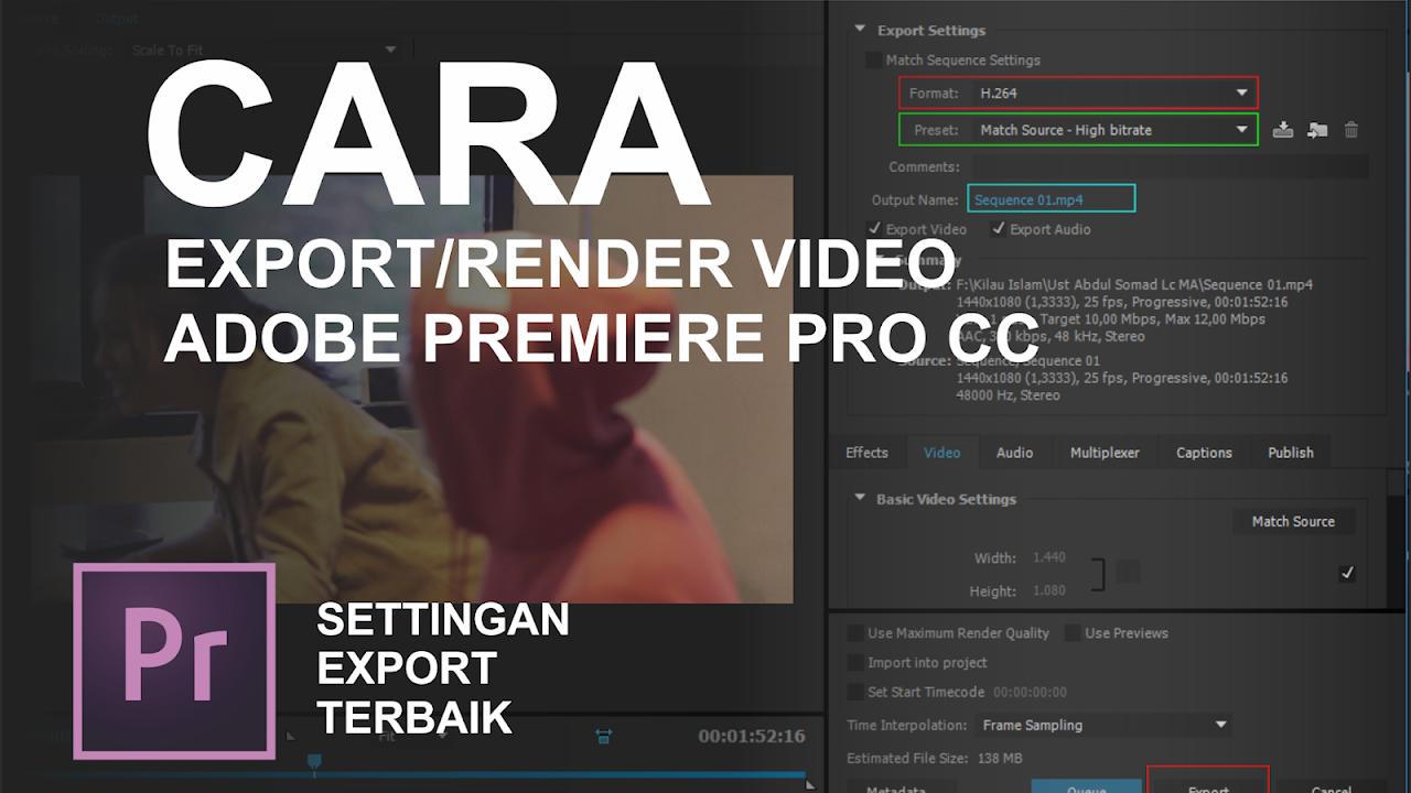 cara export render video di adobe