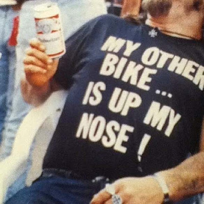My Other Bike Is Up My Nose cocaine drugs biker slogan. PYGear.com