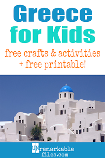 Learning about Greece is fun and hands-on with these free crafts, ideas, and activities for kids! #greece #educational