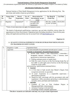 Applications are invited for Registrar Post in NIPHM Hyderabad