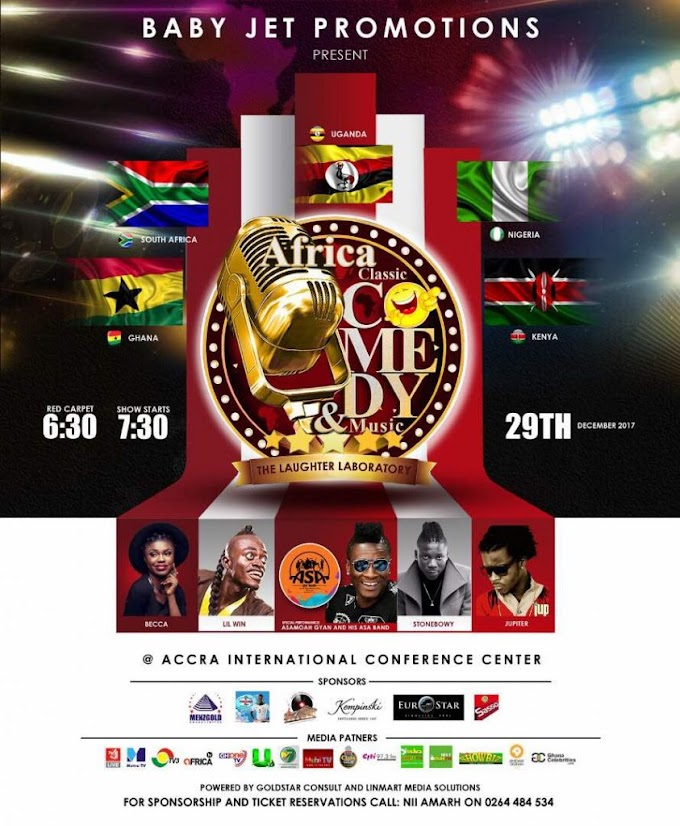 Asamoah Gyan to top African comedians in Accra, December 29