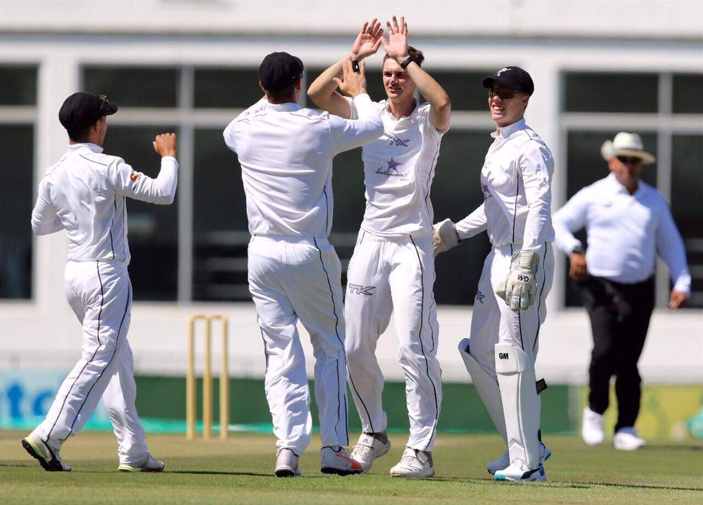 Eathan Bosch celebrating a wicket for the Hollywoodbets Dolphins in the 4 Day Franchise Series - Cricket South Africa