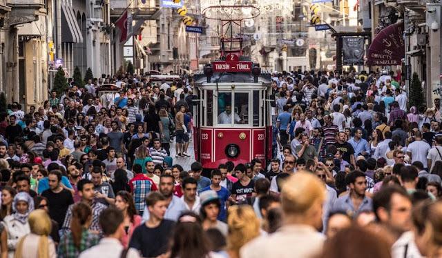 Lojas na Avenida Istiklal em Istambul na Turquia
