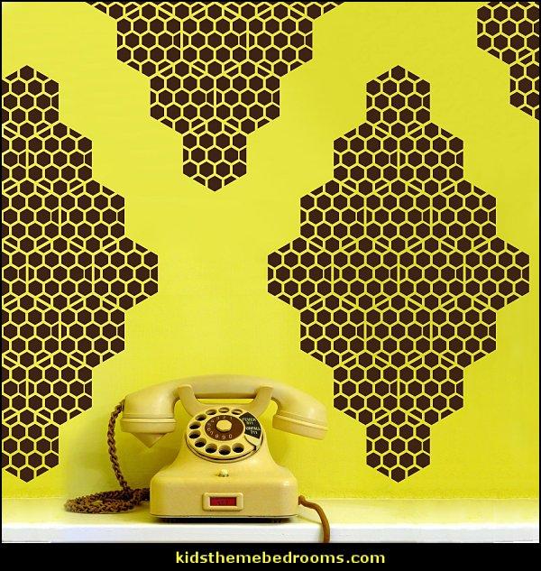 Honey Bee Diamonds Vinyl Wall Decals   bumble bee bedrooms - Bumble bee decor - Honey bee decor - decorating bumble bee home decor - Bumble Bee themed nursery - bee wallpaper mural decals - Honeycomb Stencil - hexagonal stencils - bees in springtime garden bedroom -  bee themed nursery - black yellow bedroom ideas - Hexagon pattern -