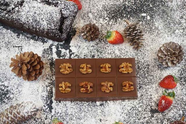 turrón de tarta de chocolate y nueces