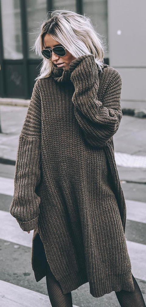 warm long sweater style