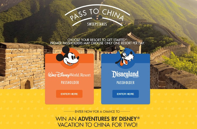 Disney Passholders can enter daily for a chance to win a fantastic ADVENTURES BY DISNEY vacation to CHINA for two worth nearly $25,000!