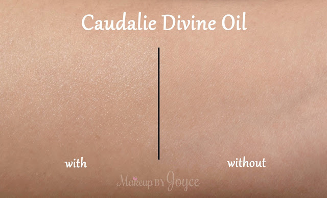 Caudalie Divine Oil Swatch Before and After
