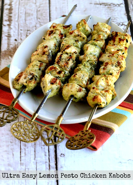 Ultra Easy Pesto Lemon Chicken Kabobs found on KalynsKitchen.com
