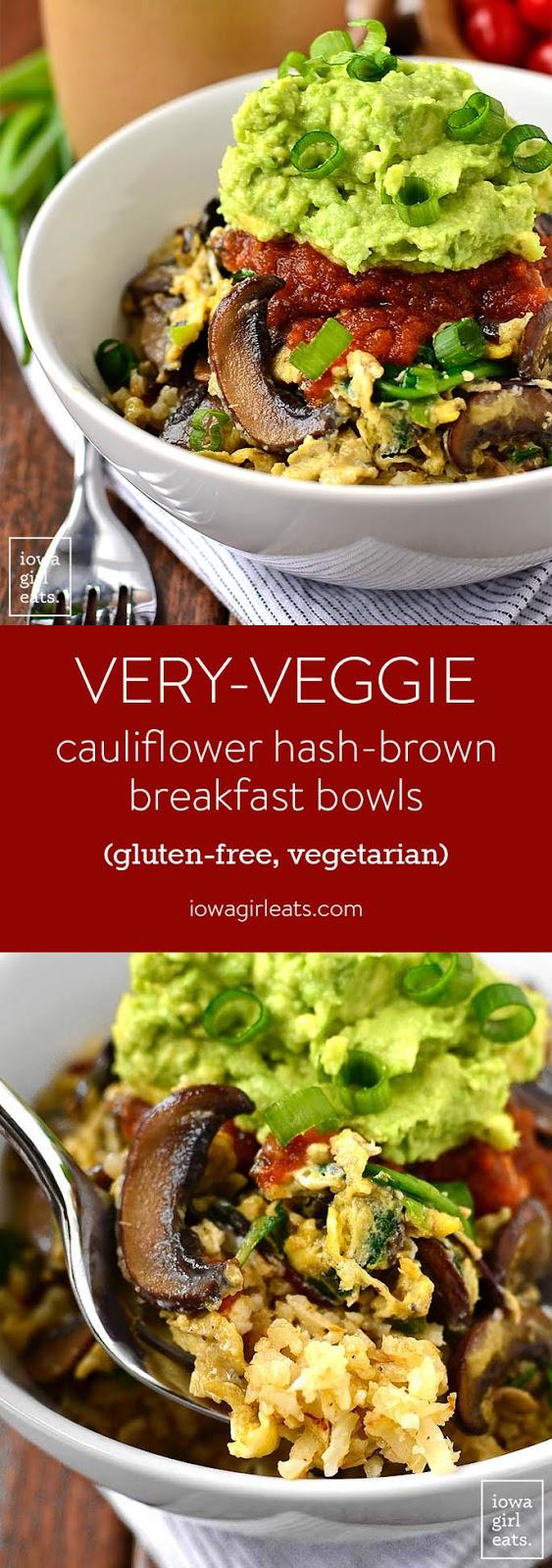 Very-Veggie Cauliflower Hash Brown Breakfast Bowl + 5 Cauliflower Rice Recipes