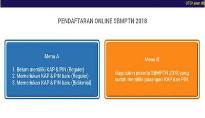 Halaman website pendaftaran SBMPTN