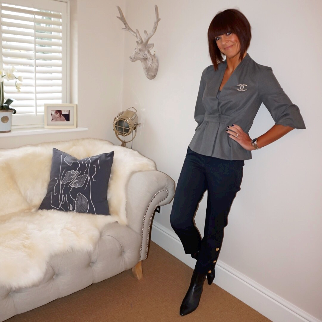 my midlife fashion, chanel vintage brooch, zara statement top, zara gold buttong trousers, zara kitten heel ankle boots