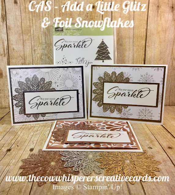 Add a Little Glitz, Clean and Simple, Foil Snow Flakes, Christmas Card, Embossing, Year of Cheer Designer Series Paper