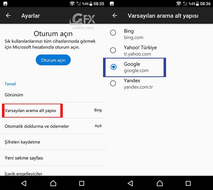 Android'de Microsoft Edge Tarayıcısında Arama motoru nasıl Google ayarlanabilir