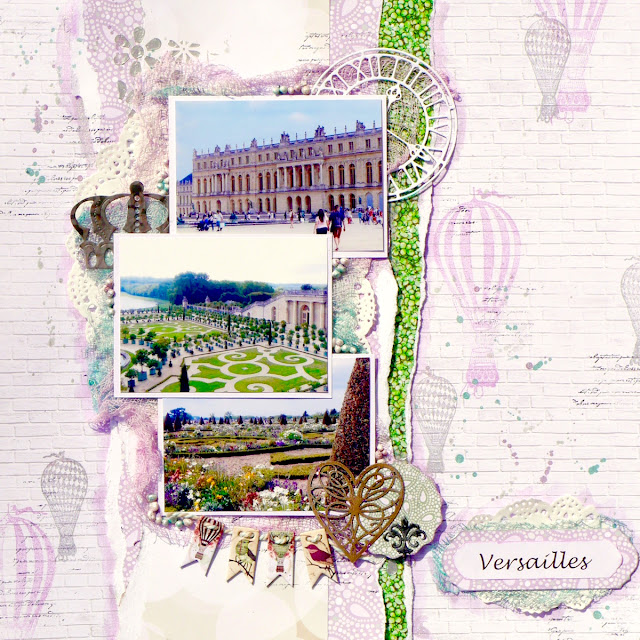 Versailles Scrapbook Page by Katherine Sutton for BoBunny using Garden Party