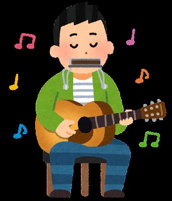 ハーモニカを吹きながらギターを弾く人のイラスト