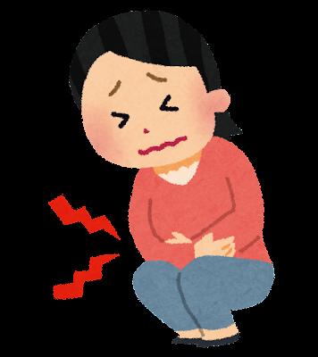 腹痛のイラスト(女性)