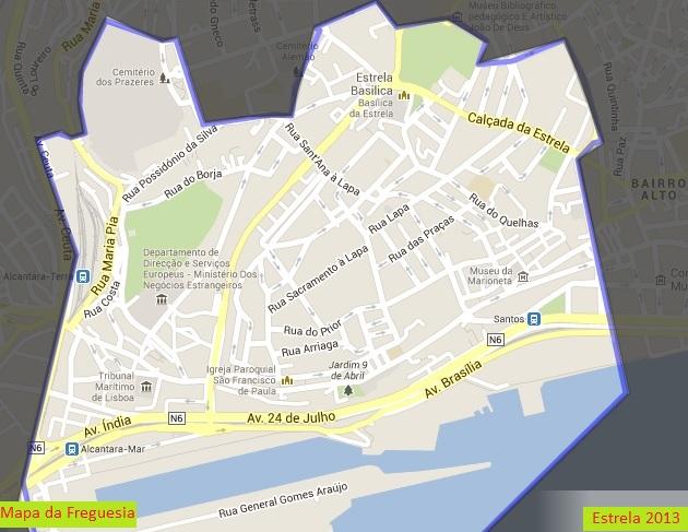estrela lisboa mapa Estrela Viva: Mapa da Freguesia estrela lisboa mapa