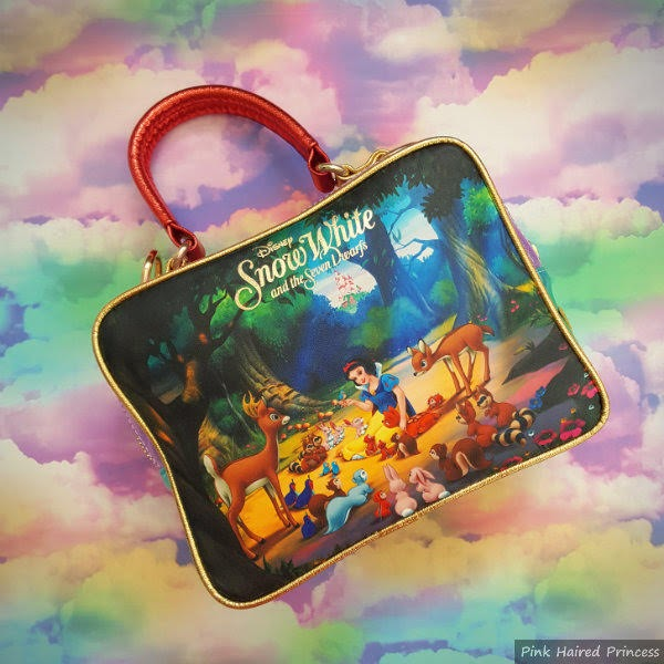 back of Disney handbag showing woodland scene from Snow White
