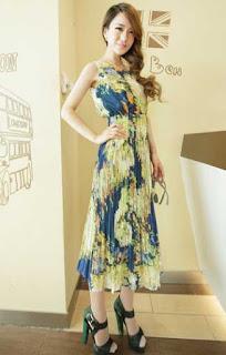 Model dres batik pesta long dress