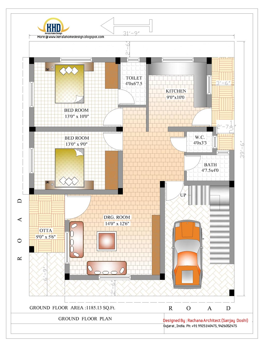 2370 sq ft indian style home design kerala home design for Small bungalow house plans in india