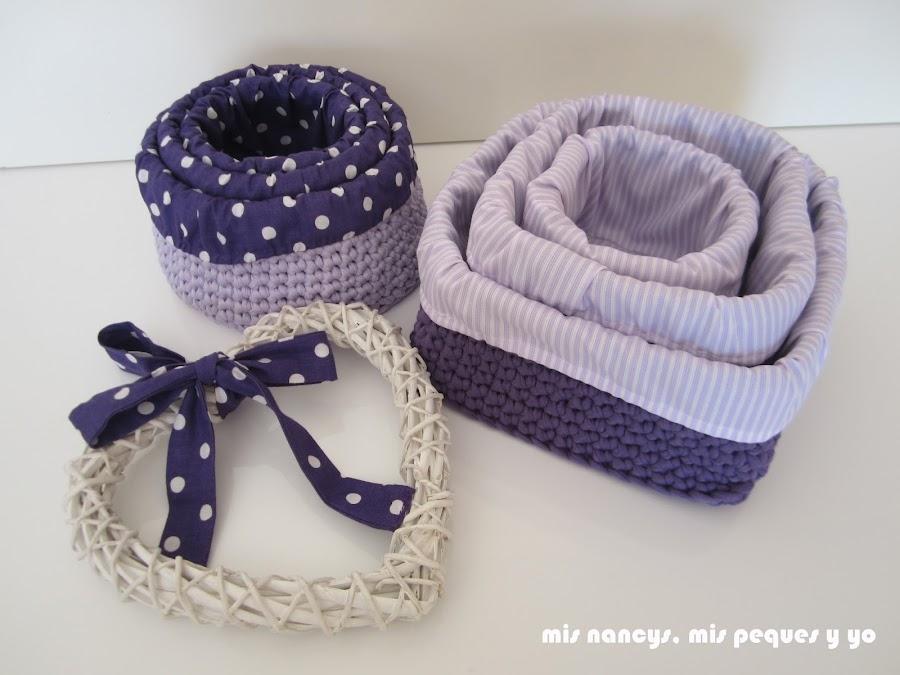 mis nancys, mis peques y yo, tutorial DIY funda cestas, juego cestas de trapillo redondas y cuadradas con fundas de tela